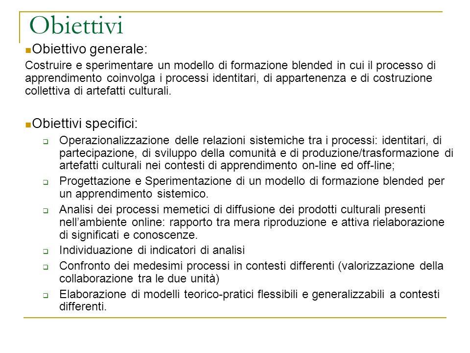 Obiettivi Obiettivo generale: Obiettivi specifici: