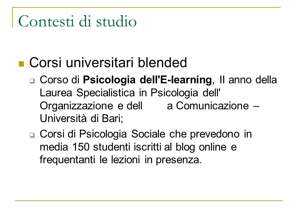 Contesti di studio Corsi universitari blended