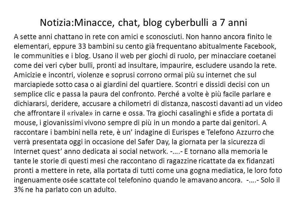 Notizia:Minacce, chat, blog cyberbulli a 7 anni