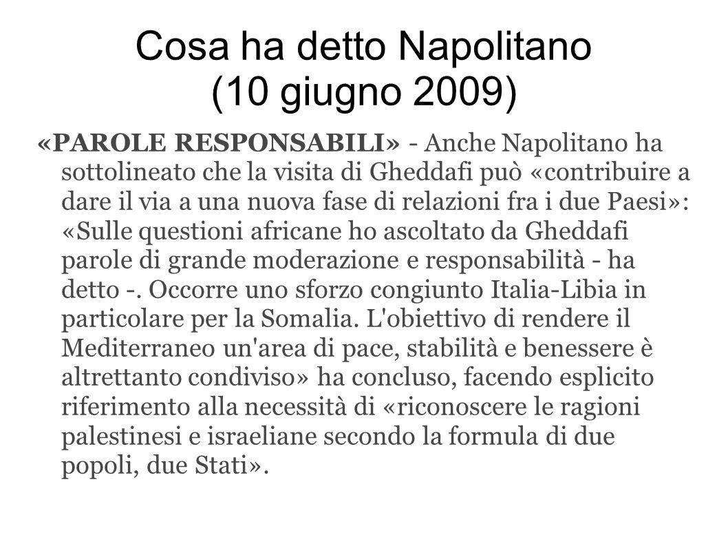 Cosa ha detto Napolitano (10 giugno 2009)