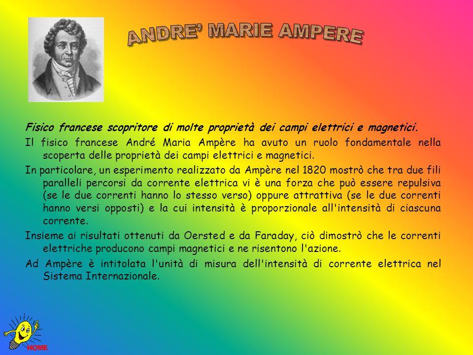 ANDRE' MARIE AMPERE Fisico francese scopritore di molte proprietà dei campi elettrici e magnetici.