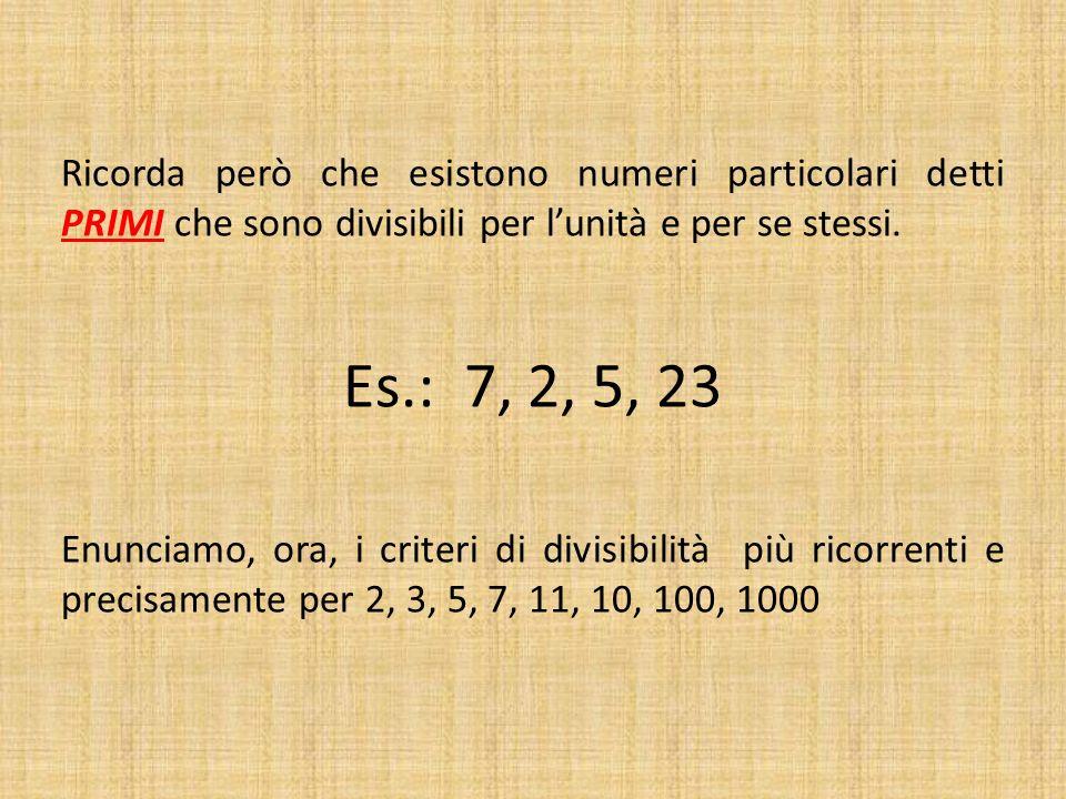 Ricorda però che esistono numeri particolari detti PRIMI che sono divisibili per l'unità e per se stessi.