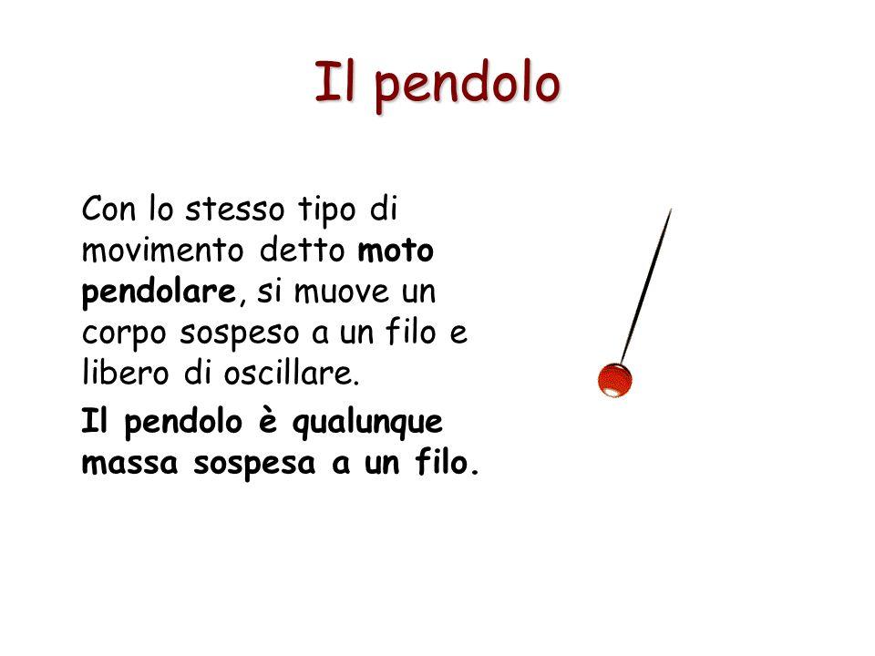 Il pendoloCon lo stesso tipo di movimento detto moto pendolare, si muove un corpo sospeso a un filo e libero di oscillare.