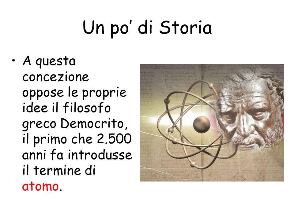Un po' di Storia A questa concezione oppose le proprie idee il filosofo greco Democrito, il primo che 2.500 anni fa introdusse il termine di atomo.