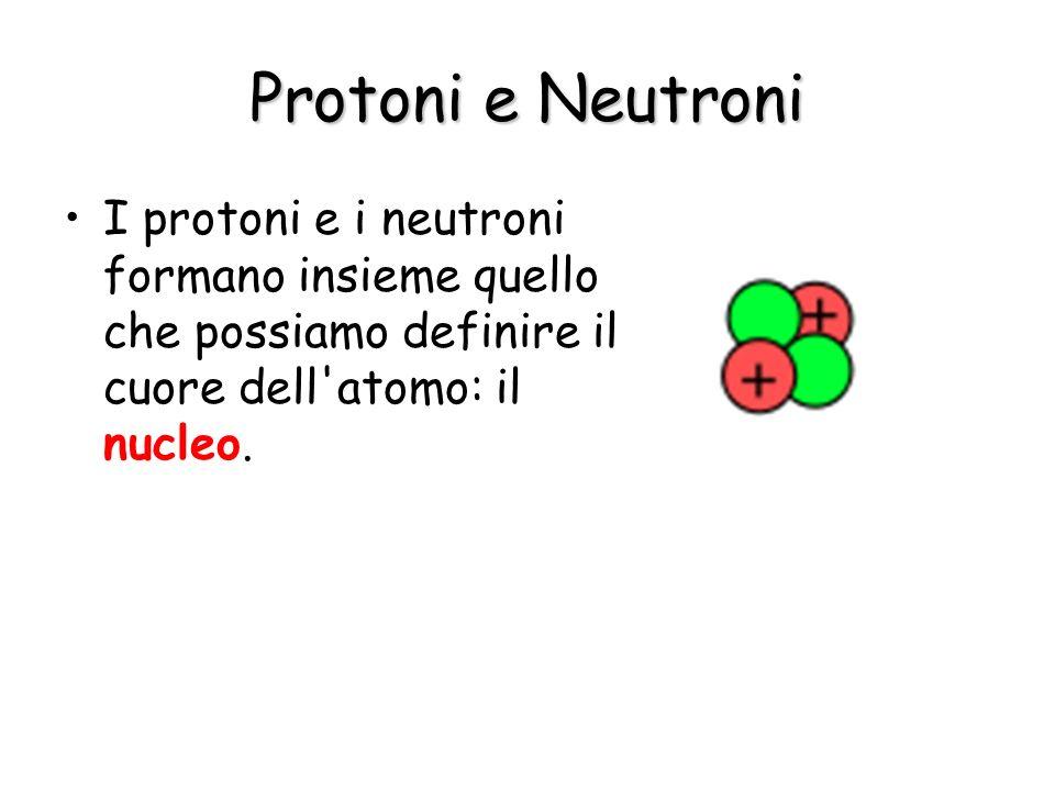 Protoni e Neutroni I protoni e i neutroni formano insieme quello che possiamo definire il cuore dell atomo: il nucleo.