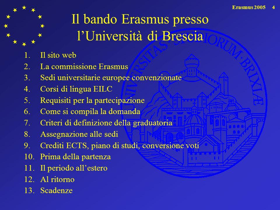 Il bando Erasmus presso l'Università di Brescia