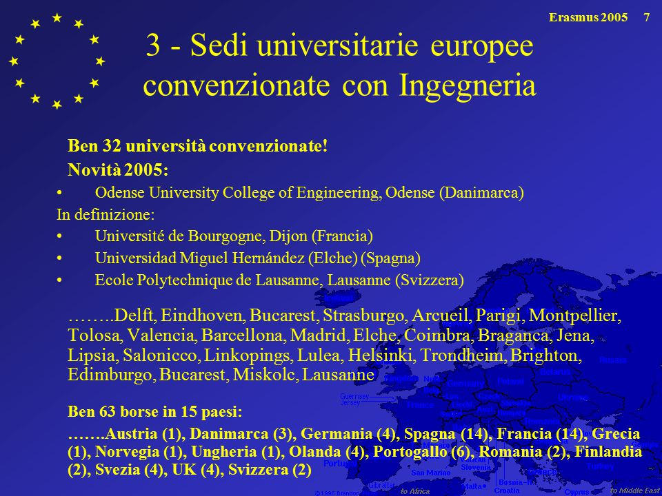 3 - Sedi universitarie europee convenzionate con Ingegneria