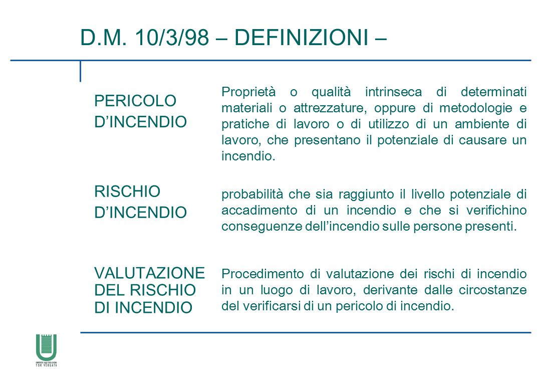 D.M. 10/3/98 – DEFINIZIONI – PERICOLO D'INCENDIO RISCHIO D'INCENDIO
