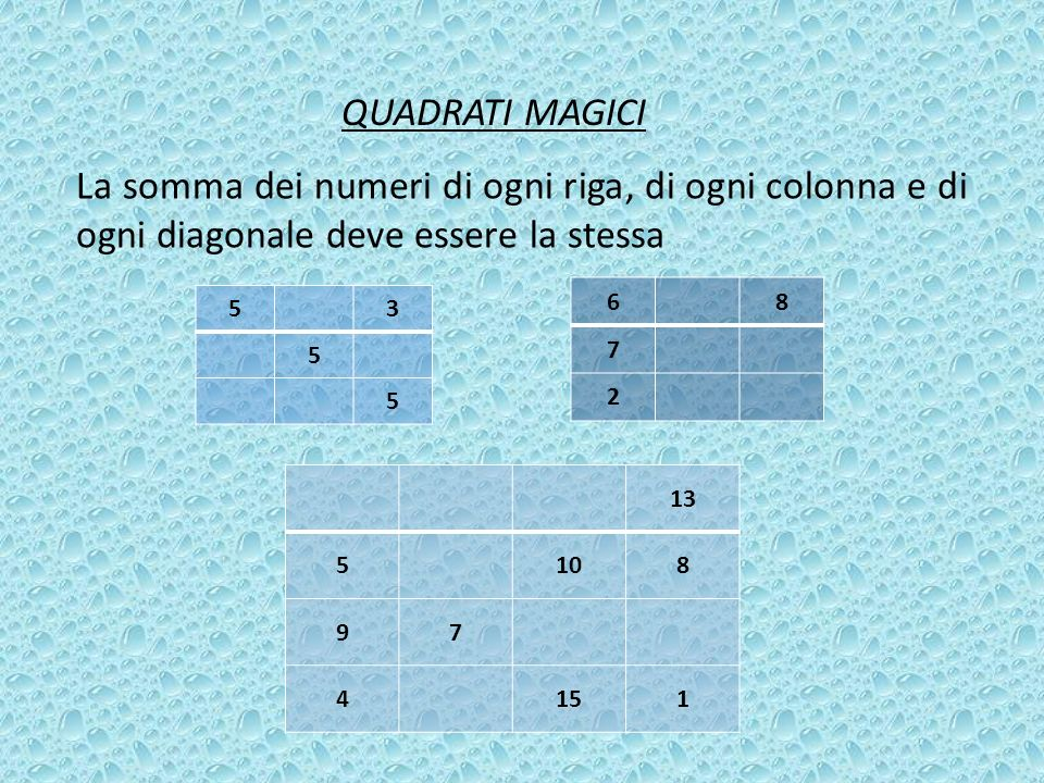 QUADRATI MAGICI La somma dei numeri di ogni riga, di ogni colonna e di ogni diagonale deve essere la stessa.