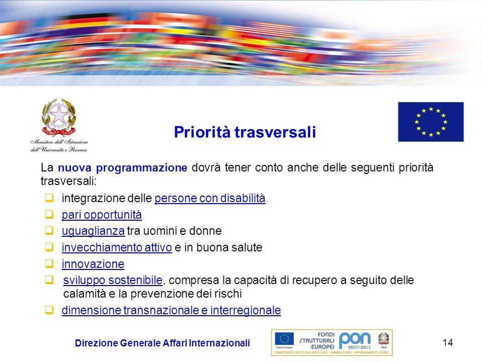 Priorità trasversali La nuova programmazione dovrà tener conto anche delle seguenti priorità trasversali:
