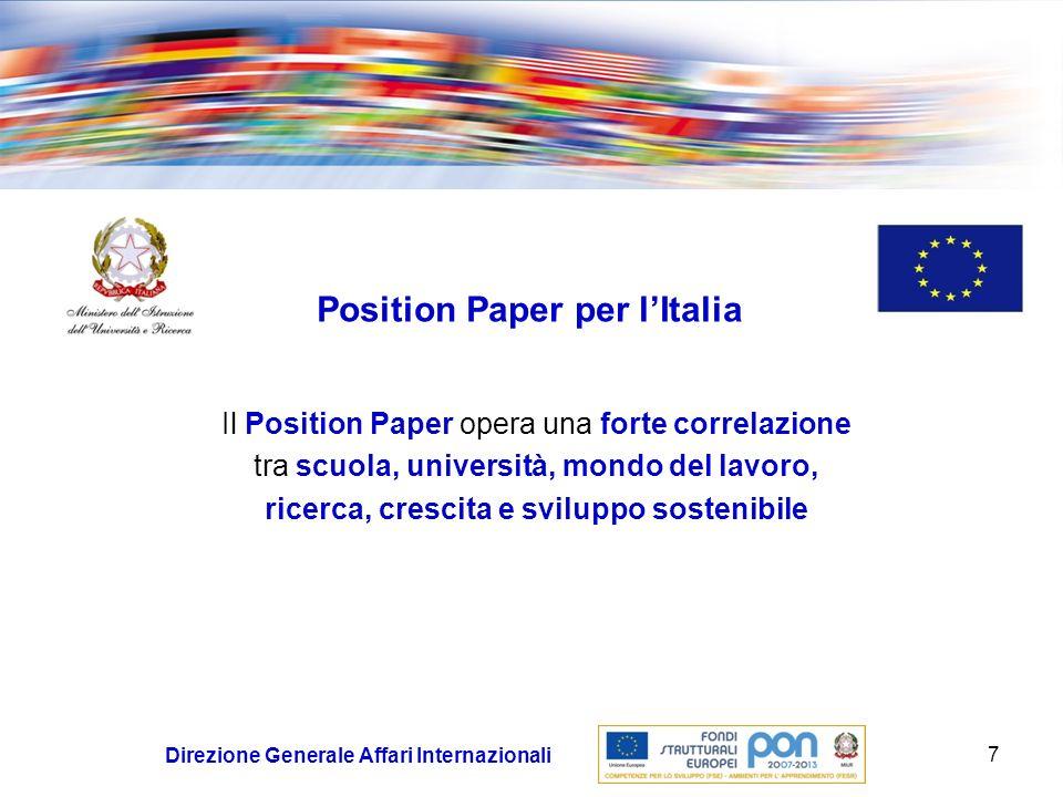Position Paper per l'Italia ricerca, crescita e sviluppo sostenibile