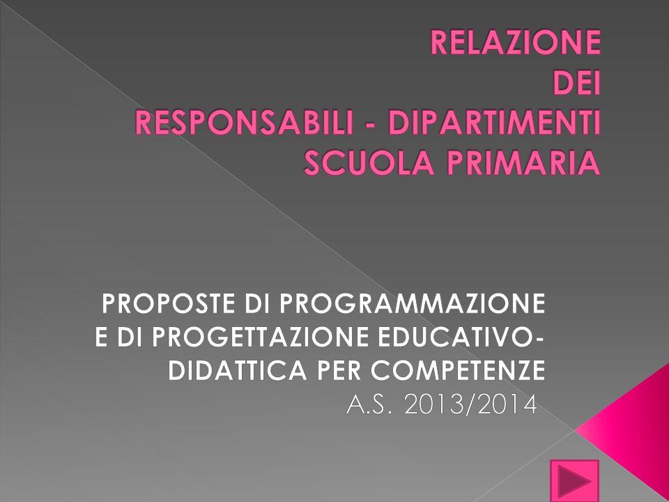 RELAZIONE DEI RESPONSABILI - DIPARTIMENTI SCUOLA PRIMARIA