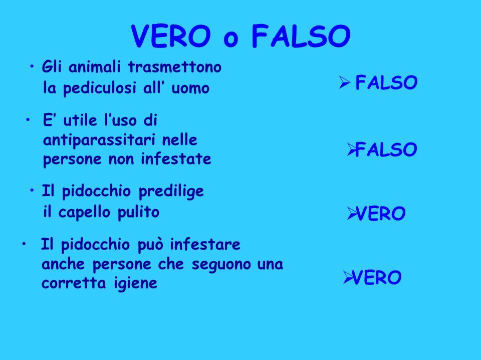 VERO o FALSO FALSO FALSO VERO VERO Gli animali trasmettono