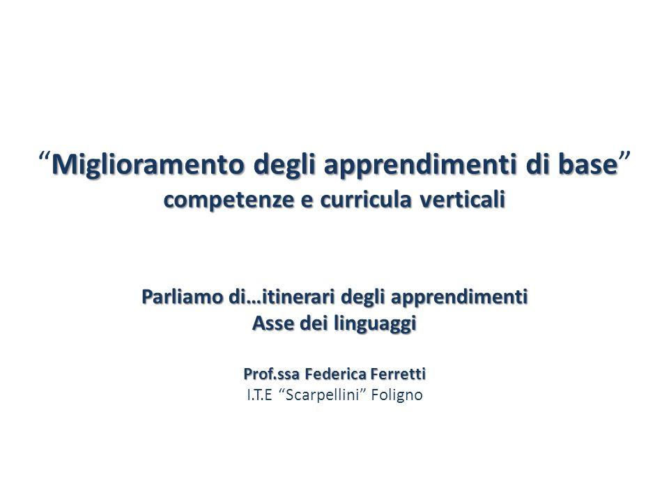 Parliamo di…itinerari degli apprendimenti Prof.ssa Federica Ferretti