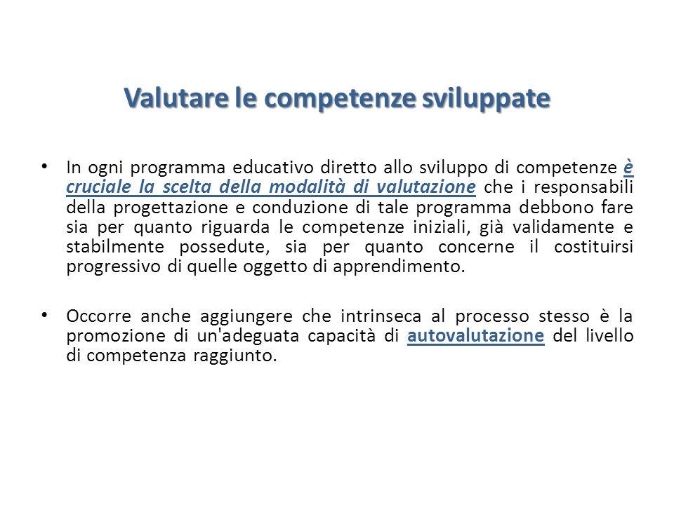Valutare le competenze sviluppate