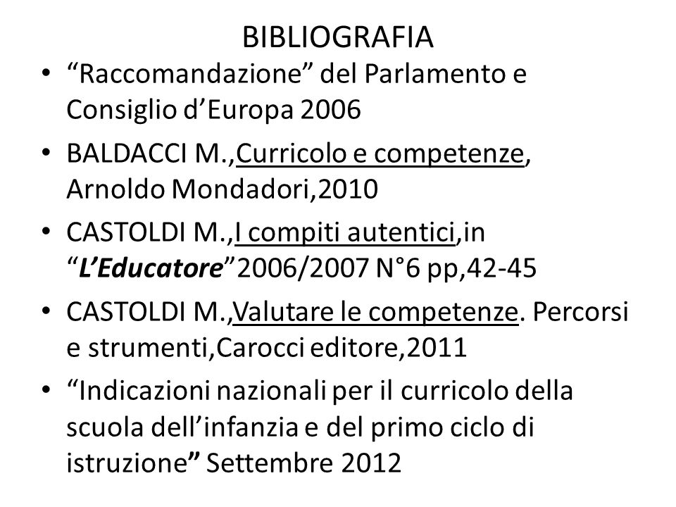 BIBLIOGRAFIA Raccomandazione del Parlamento e Consiglio d'Europa 2006. BALDACCI M.,Curricolo e competenze, Arnoldo Mondadori,2010.
