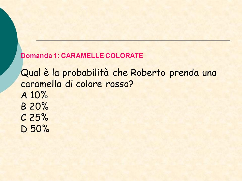 A 10% B 20% C 25% D 50% Domanda 1: CARAMELLE COLORATE
