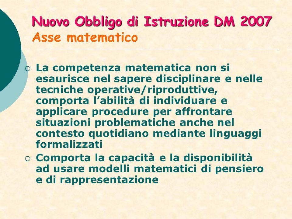 Nuovo Obbligo di Istruzione DM 2007 Asse matematico