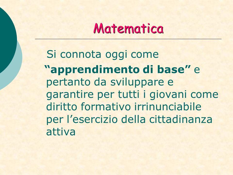 Matematica Si connota oggi come