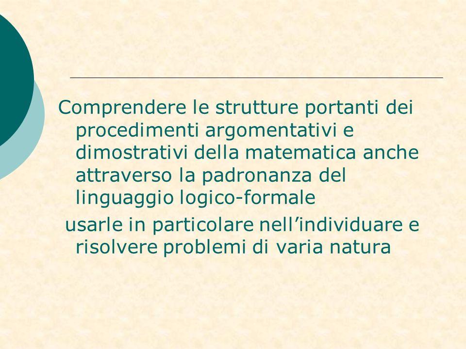 Comprendere le strutture portanti dei procedimenti argomentativi e dimostrativi della matematica anche attraverso la padronanza del linguaggio logico-formale