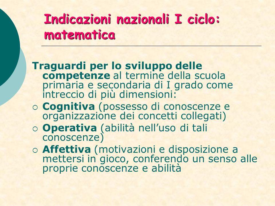 Indicazioni nazionali I ciclo: matematica