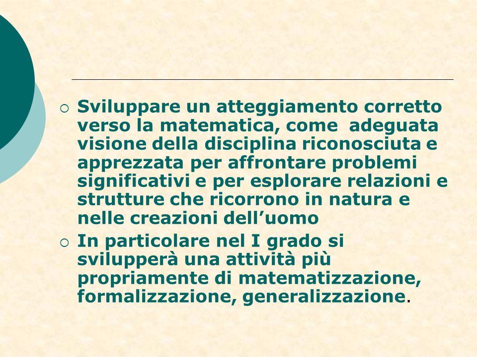 Sviluppare un atteggiamento corretto verso la matematica, come adeguata visione della disciplina riconosciuta e apprezzata per affrontare problemi significativi e per esplorare relazioni e strutture che ricorrono in natura e nelle creazioni dell'uomo