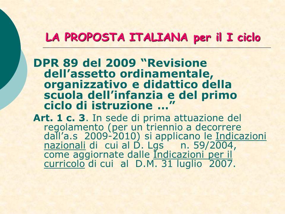 LA PROPOSTA ITALIANA per il I ciclo