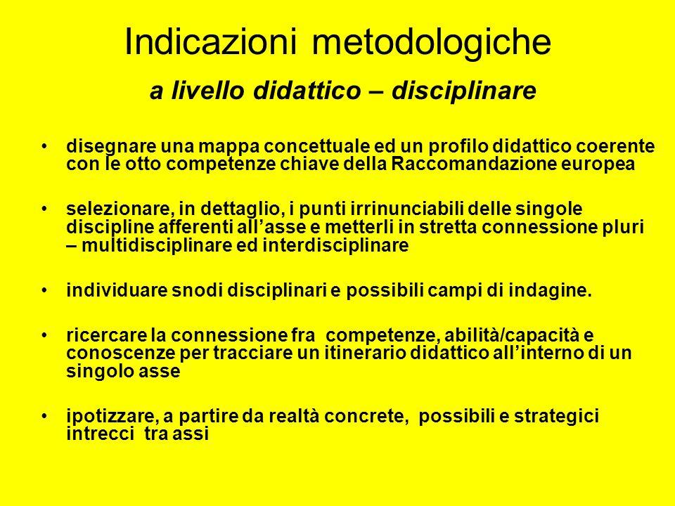 Indicazioni metodologiche a livello didattico – disciplinare
