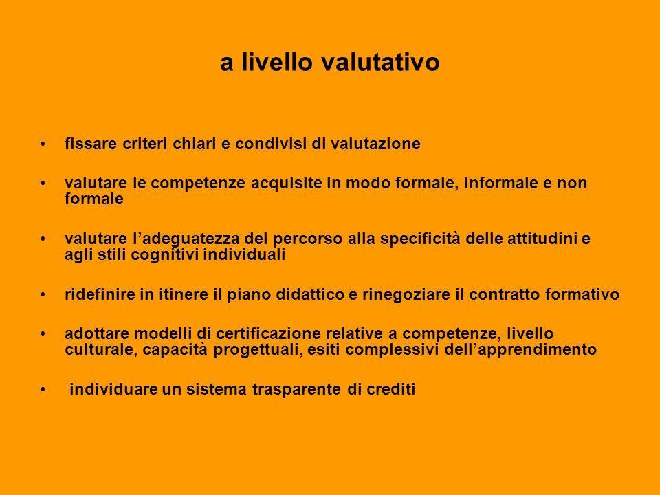 a livello valutativo fissare criteri chiari e condivisi di valutazione