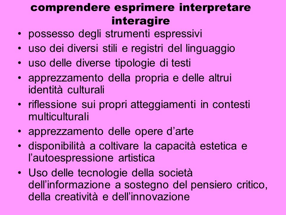 comprendere esprimere interpretare interagire