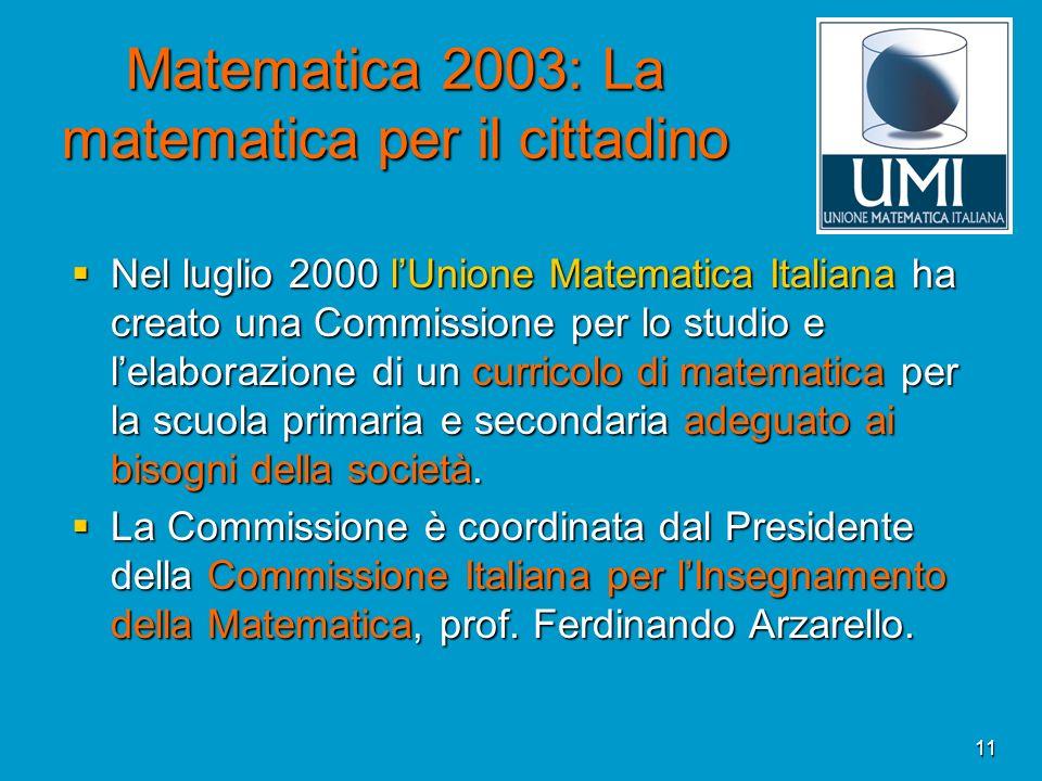 Matematica 2003: La matematica per il cittadino