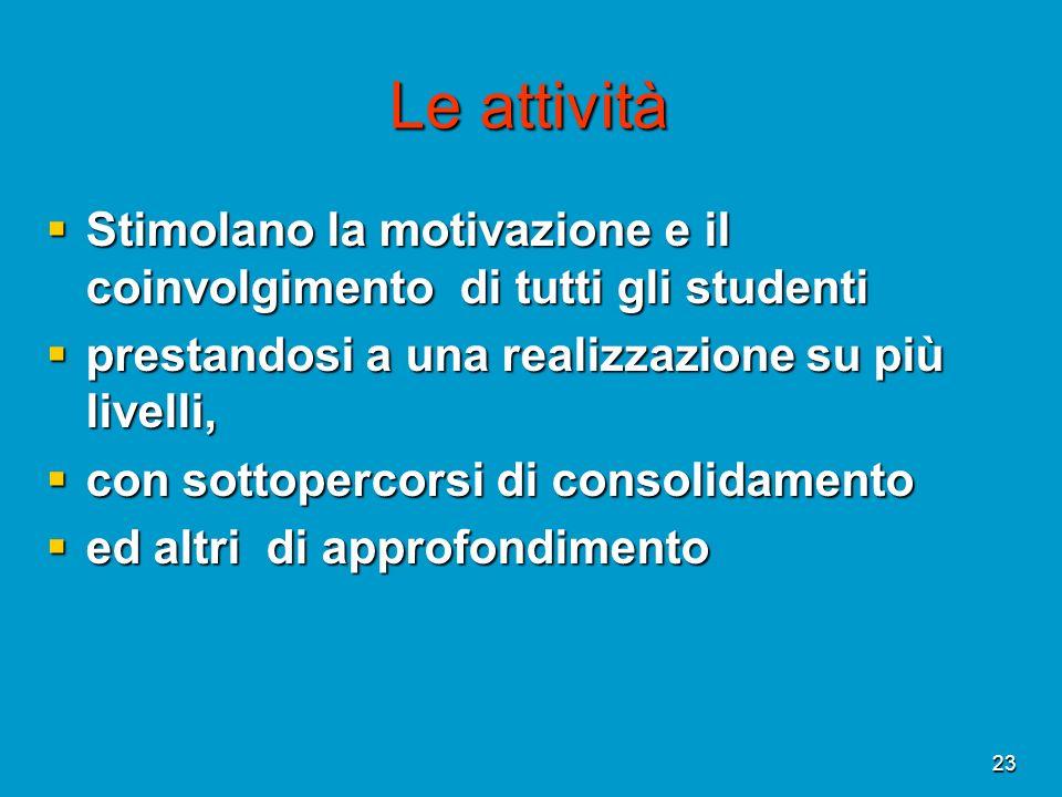 Le attività Stimolano la motivazione e il coinvolgimento di tutti gli studenti. prestandosi a una realizzazione su più livelli,