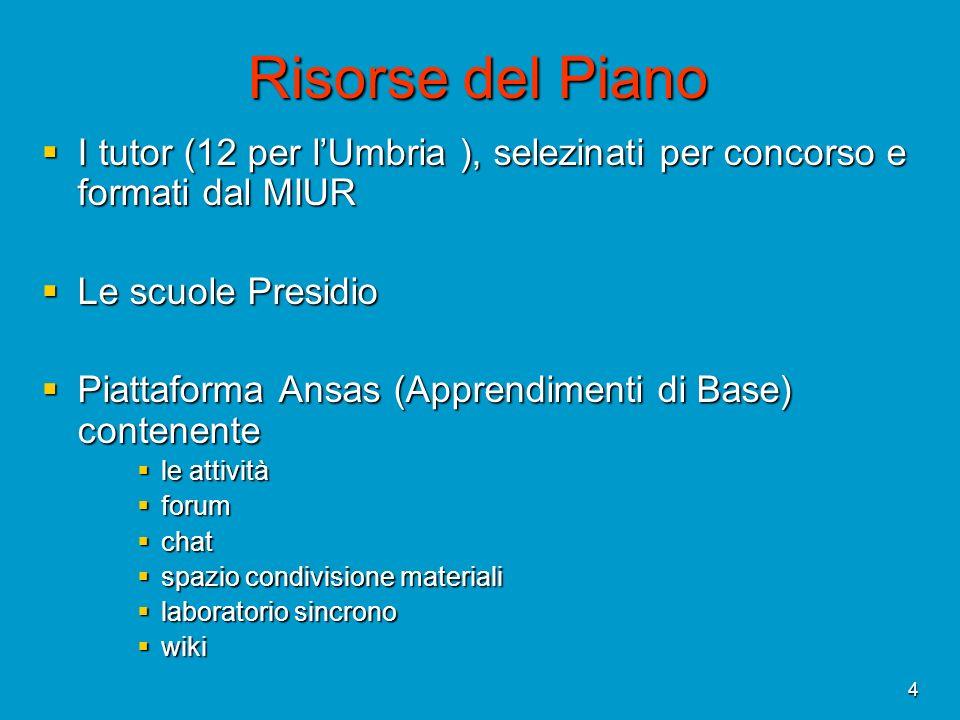 Risorse del Piano I tutor (12 per l'Umbria ), selezinati per concorso e formati dal MIUR. Le scuole Presidio.