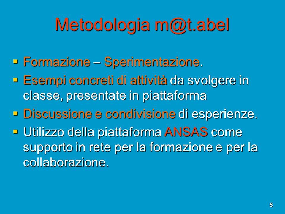 Metodologia m@t.abel Formazione – Sperimentazione.