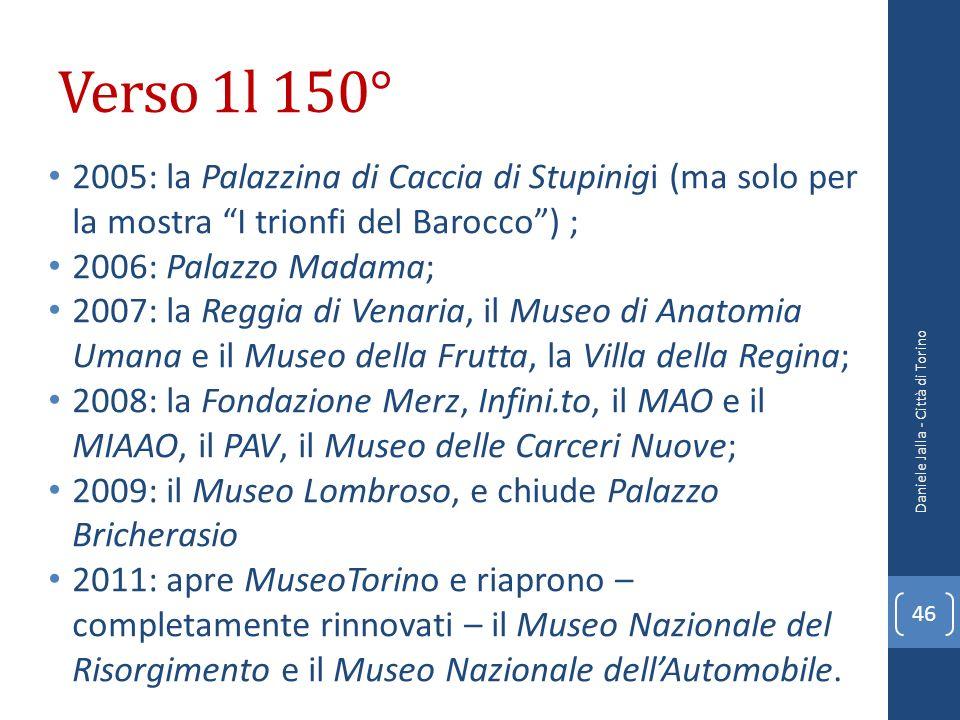 Verso 1l 150° 2005: la Palazzina di Caccia di Stupinigi (ma solo per la mostra I trionfi del Barocco ) ;