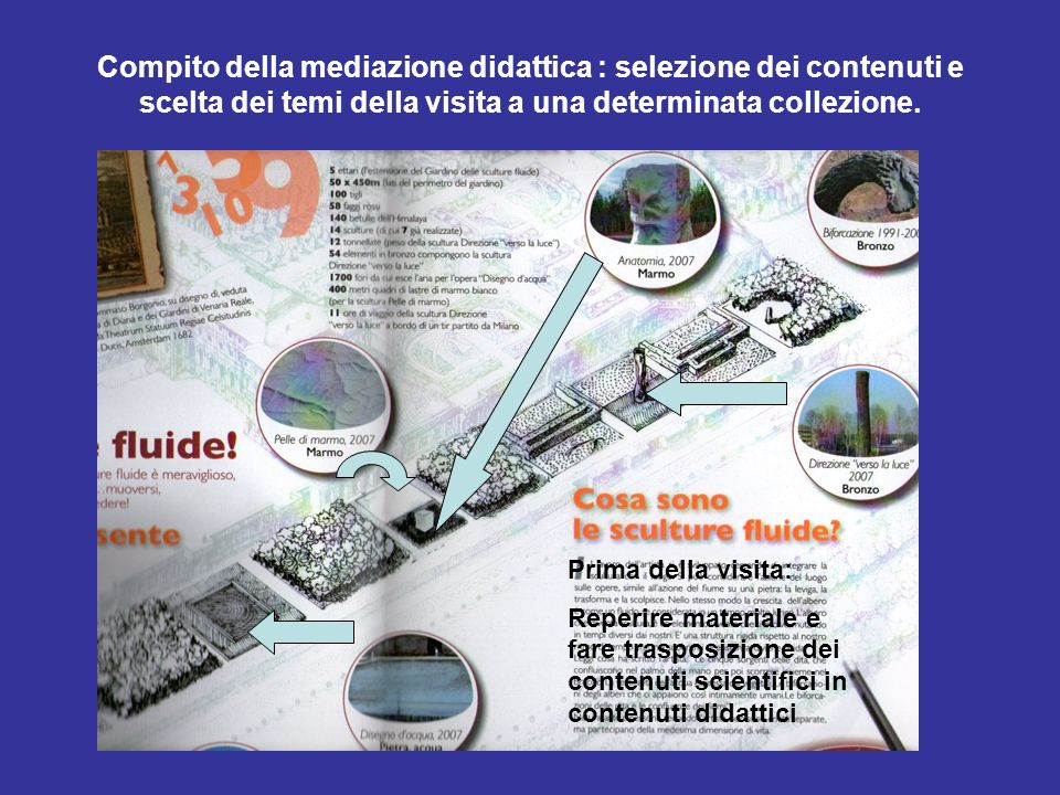 Compito della mediazione didattica : selezione dei contenuti e scelta dei temi della visita a una determinata collezione.