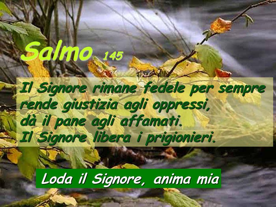 Salmo 145Il Signore rimane fedele per sempre rende giustizia agli oppressi, dà il pane agli affamati. Il Signore libera i prigionieri.