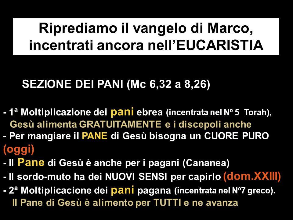 Riprediamo il vangelo di Marco, incentrati ancora nell'EUCARISTIA