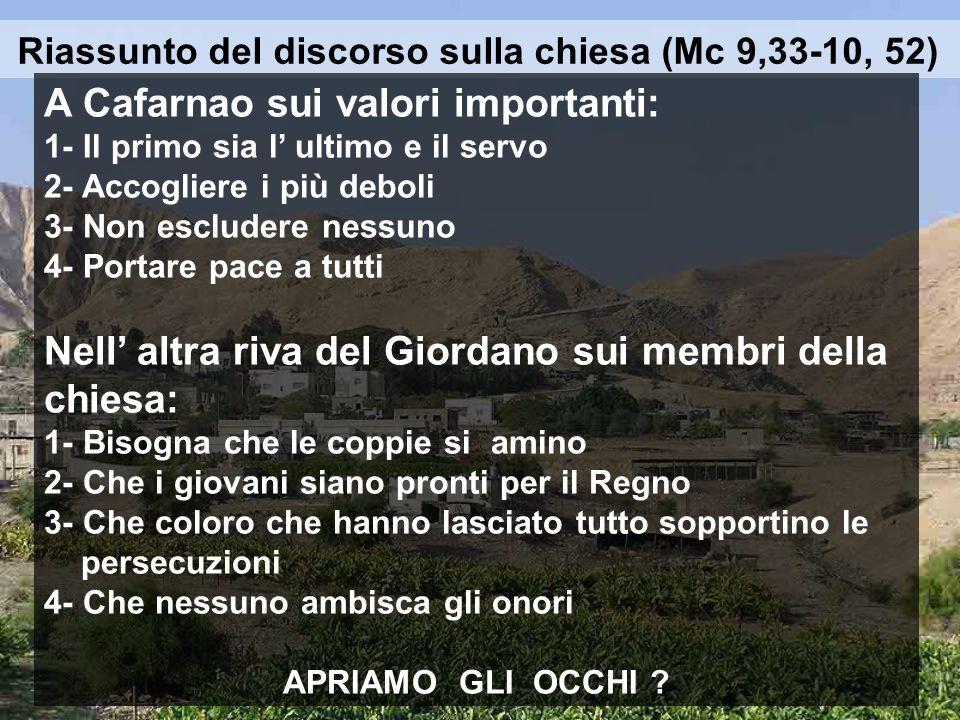 Riassunto del discorso sulla chiesa (Mc 9,33-10, 52)
