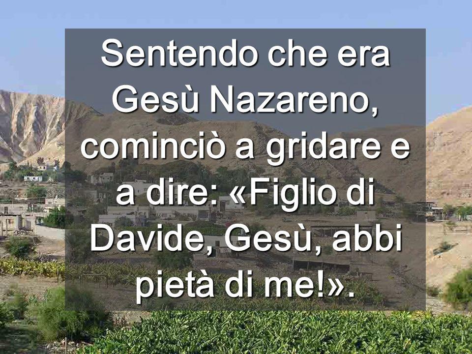 Sentendo che era Gesù Nazareno, cominciò a gridare e a dire: «Figlio di Davide, Gesù, abbi pietà di me!».