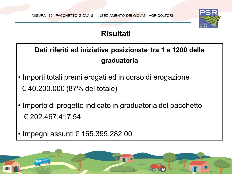 Dati riferiti ad iniziative posizionate tra 1 e 1200 della graduatoria