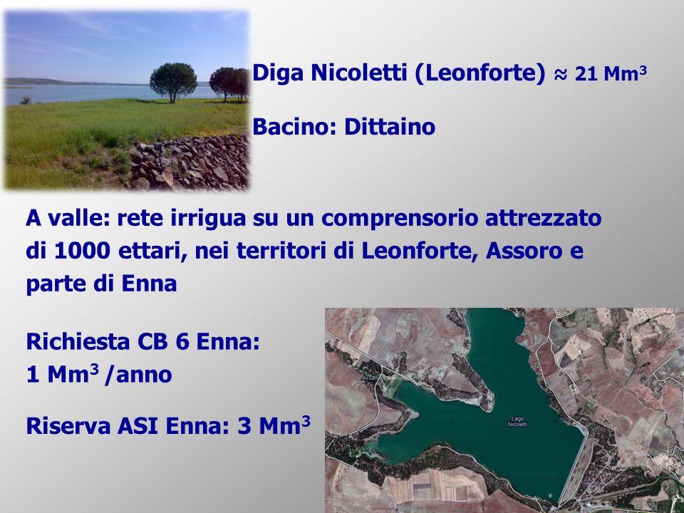 Diga Nicoletti (Leonforte) ≈ 21 Mm3 Bacino: Dittaino
