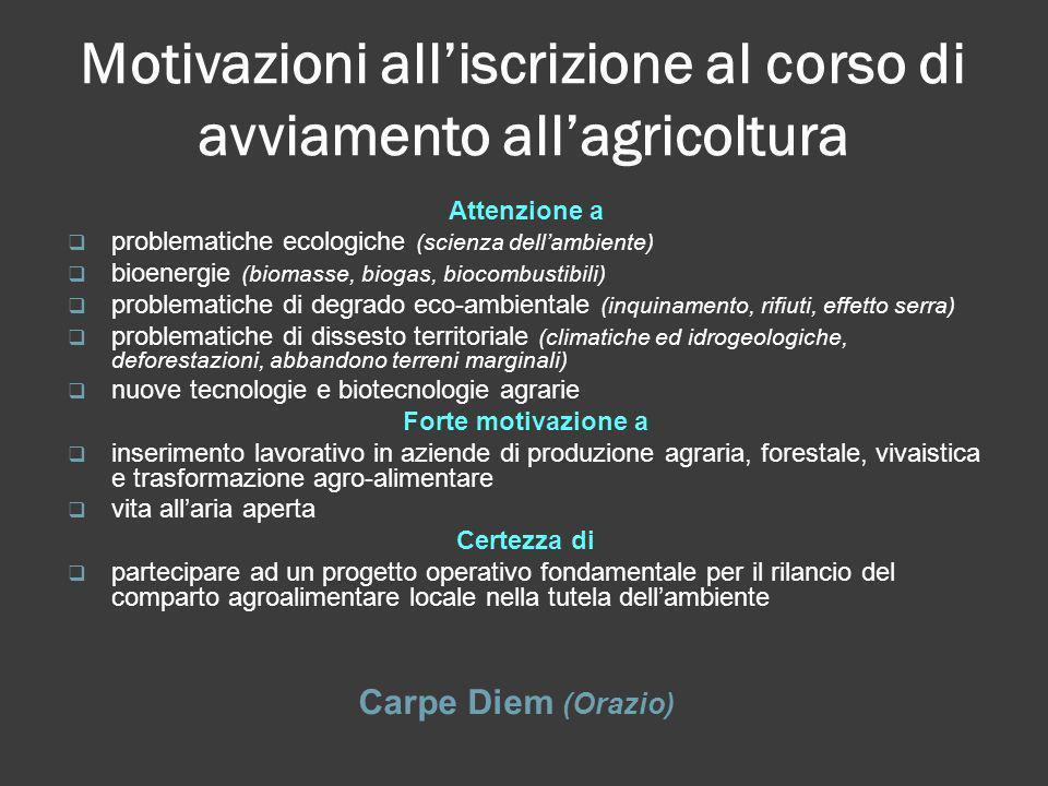 Motivazioni all'iscrizione al corso di avviamento all'agricoltura