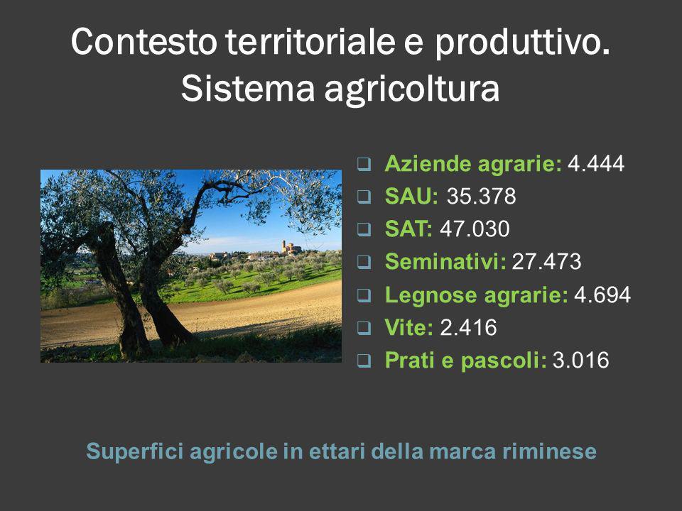 Contesto territoriale e produttivo. Sistema agricoltura