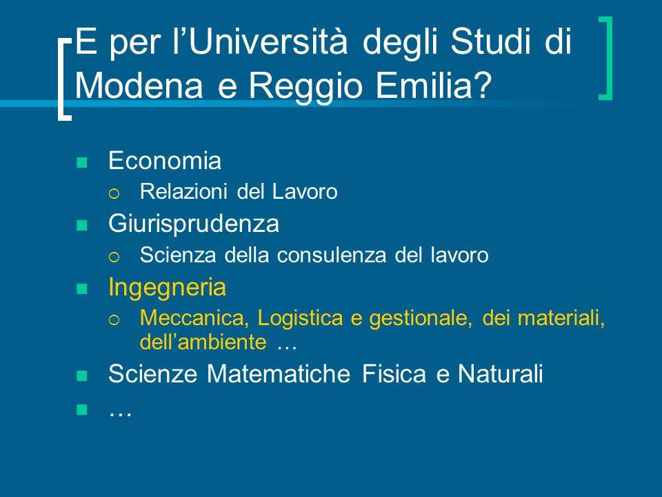 E per l'Università degli Studi di Modena e Reggio Emilia