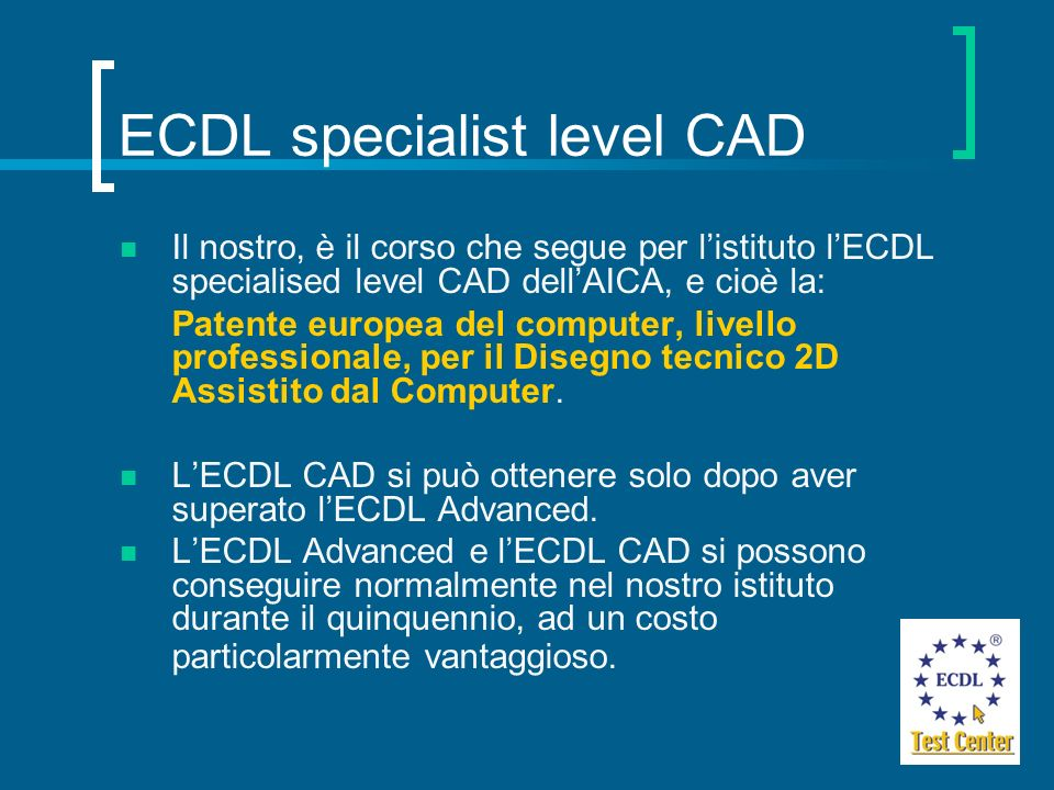 ECDL specialist level CAD