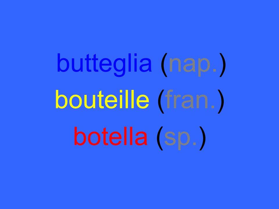 butteglia (nap.) bouteille (fran.) botella (sp.)