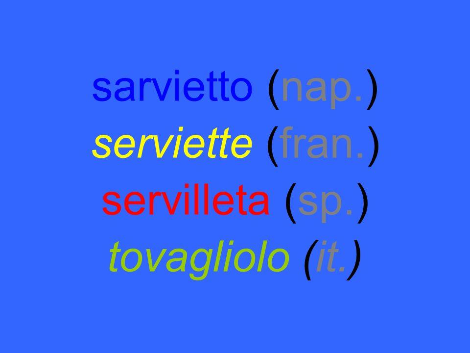 sarvietto (nap.) serviette (fran.) servilleta (sp.) tovagliolo (it.)