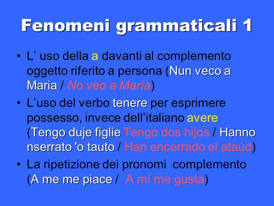 Fenomeni grammaticali 1