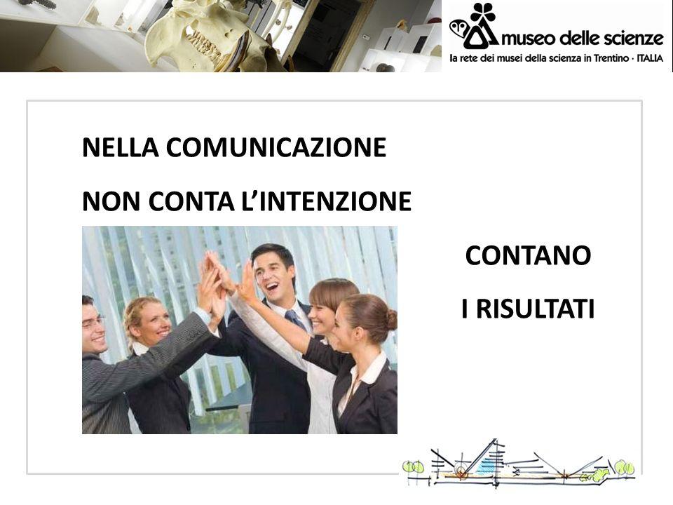 NELLA COMUNICAZIONE NON CONTA L'INTENZIONE CONTANO I RISULTATI